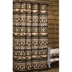 Big Woods Shower Curtain (Moose And Bear Shower Curtain) Lodge Decor