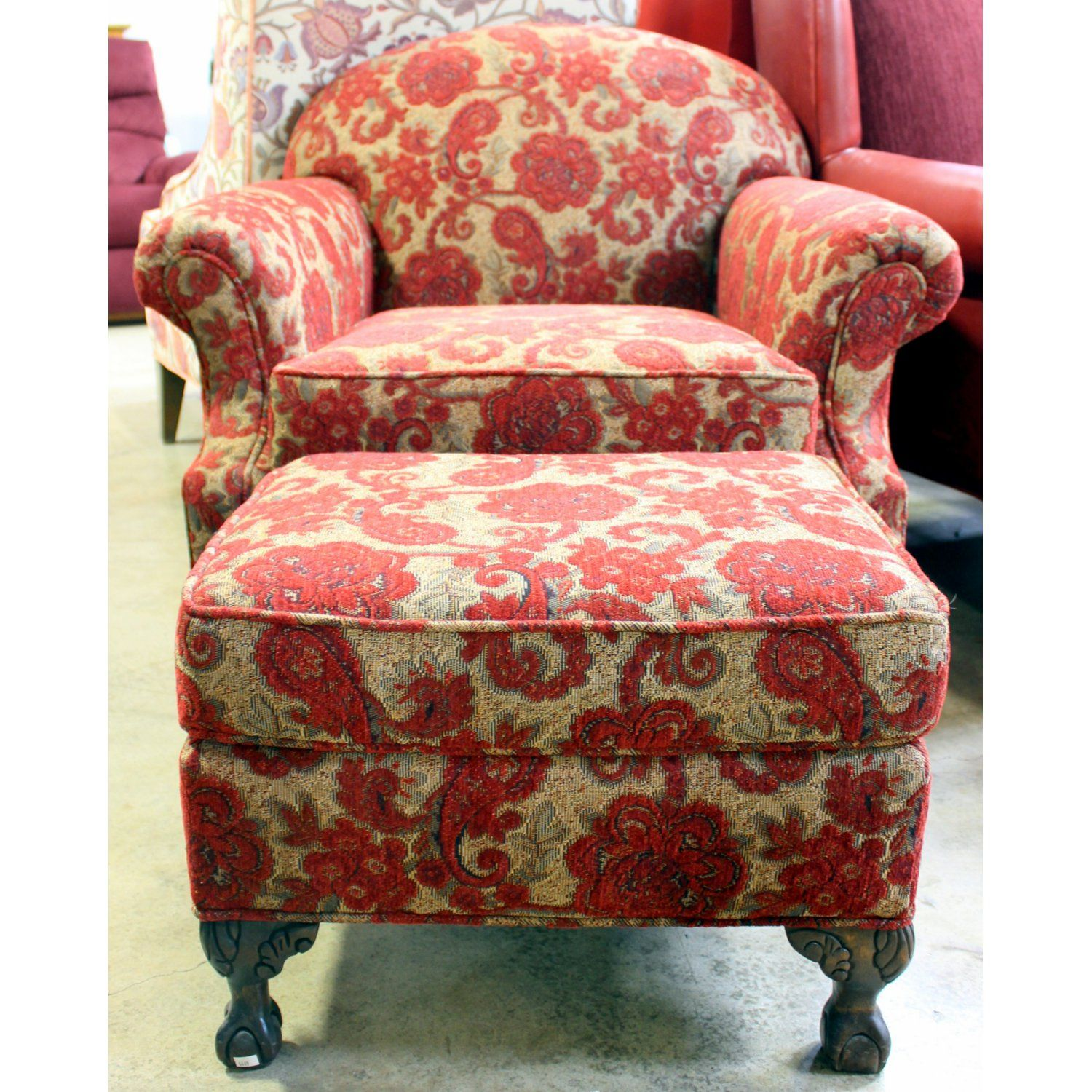Overstuffed Chair And Ottoman Fabric Pattern And Color Ashley Furniture Overstuffed Chair And
