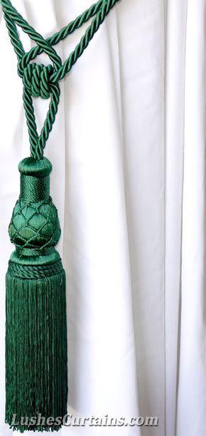 Luxury Green Curtain Tassel Tie Back Emerald Green Curtains