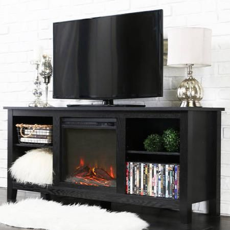 Walker Edison 58 Wood Tv Stand With Fireplace For Tvs Up To 60 Multiple Colors Walmart Com In 2020 Tv Stand With Fireplace Insert Fireplace Tv Stand Tv Stand