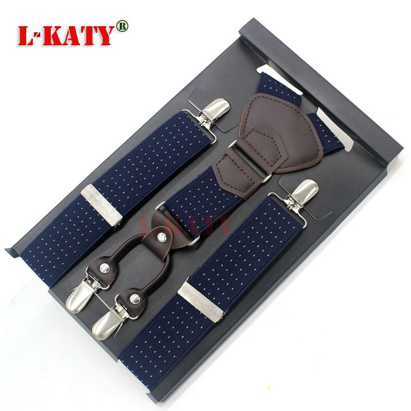 8c96a6810d7df Fashion Genuine Leather Navy Blue Print Male Suspenders Elastic Y-back Belt  4 clip-on Braces Vintage Adjustable115 3.5cm MBD8457