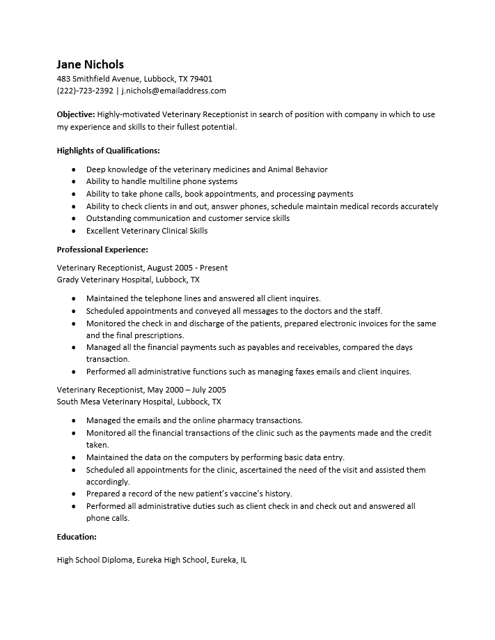 Resume Examples Veterinary Receptionist In 2020