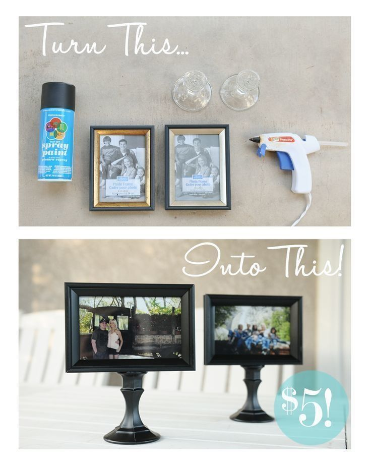 photo holders made from dollar store candle holders and picture frames just paint and - Dollar Store Frames