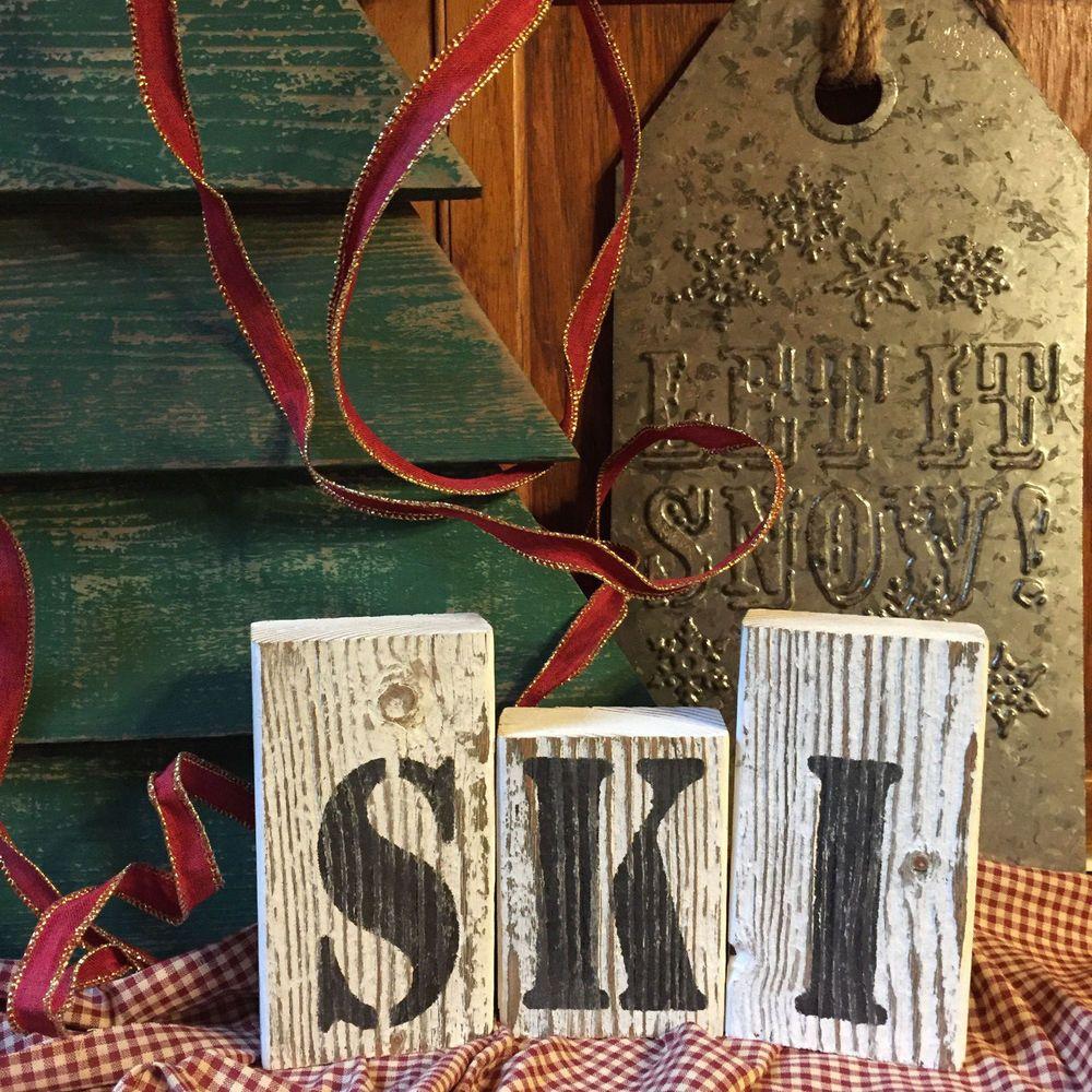 SKI Sign Cabin Bar Pub Rustic Wood