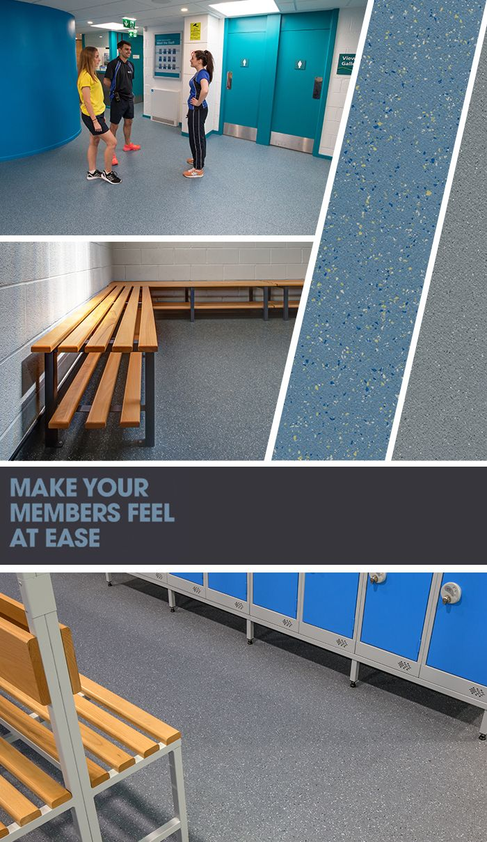 Make your members feel at ease… easily combine both #design and #safety with our non-slip waterproof #Flooring solutions! #ChangingRooms