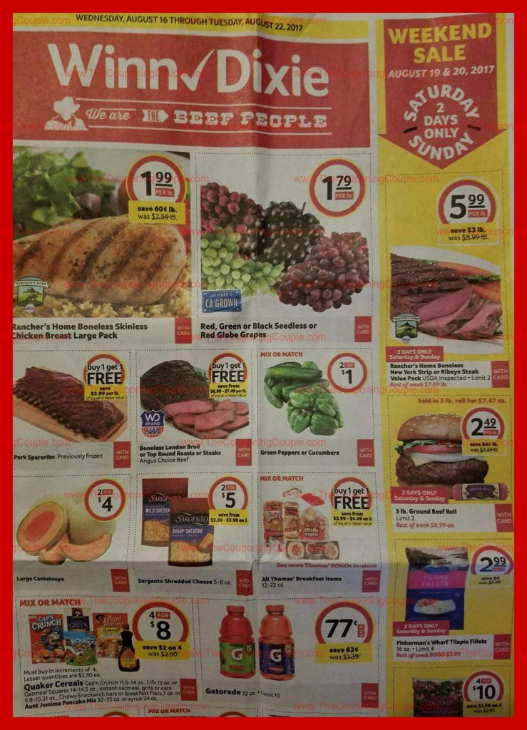 Winn Dixie Weekly Ad Scan 81617 82217 ALL 18 PAGES Winn