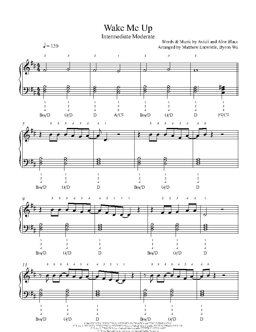 Wake Me Up By Avicii Piano Sheet Music Intermediate Level With