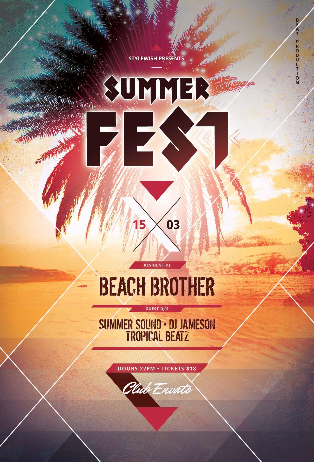 summer fest flyer template  download psd file