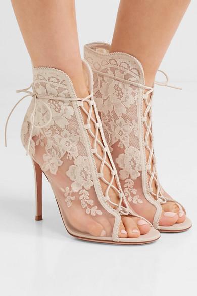 Gianvito Rossi Giada 100 white cream lace up mesh, leather