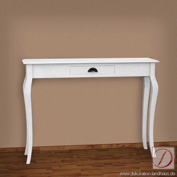 Schreibtisch Konsole LONDON Weiß B120cm Pinie Massiv   Wunderschöner  Konsolentisch Mit 1 Schublade In Weiß.