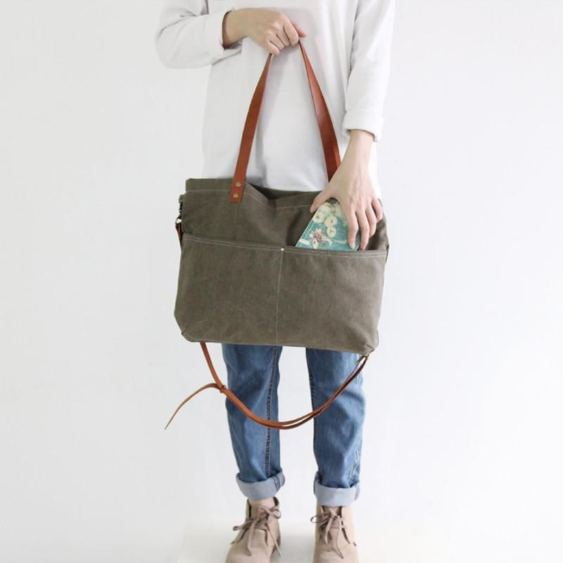 16783efeaac3 Waxed Canvas with Leather Women Tote Bag
