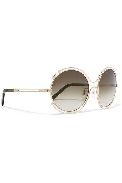 Chloé | Isidora goldfarbene Sonnenbrille mit rundem Rahmen | NET-A-PORTER.COM