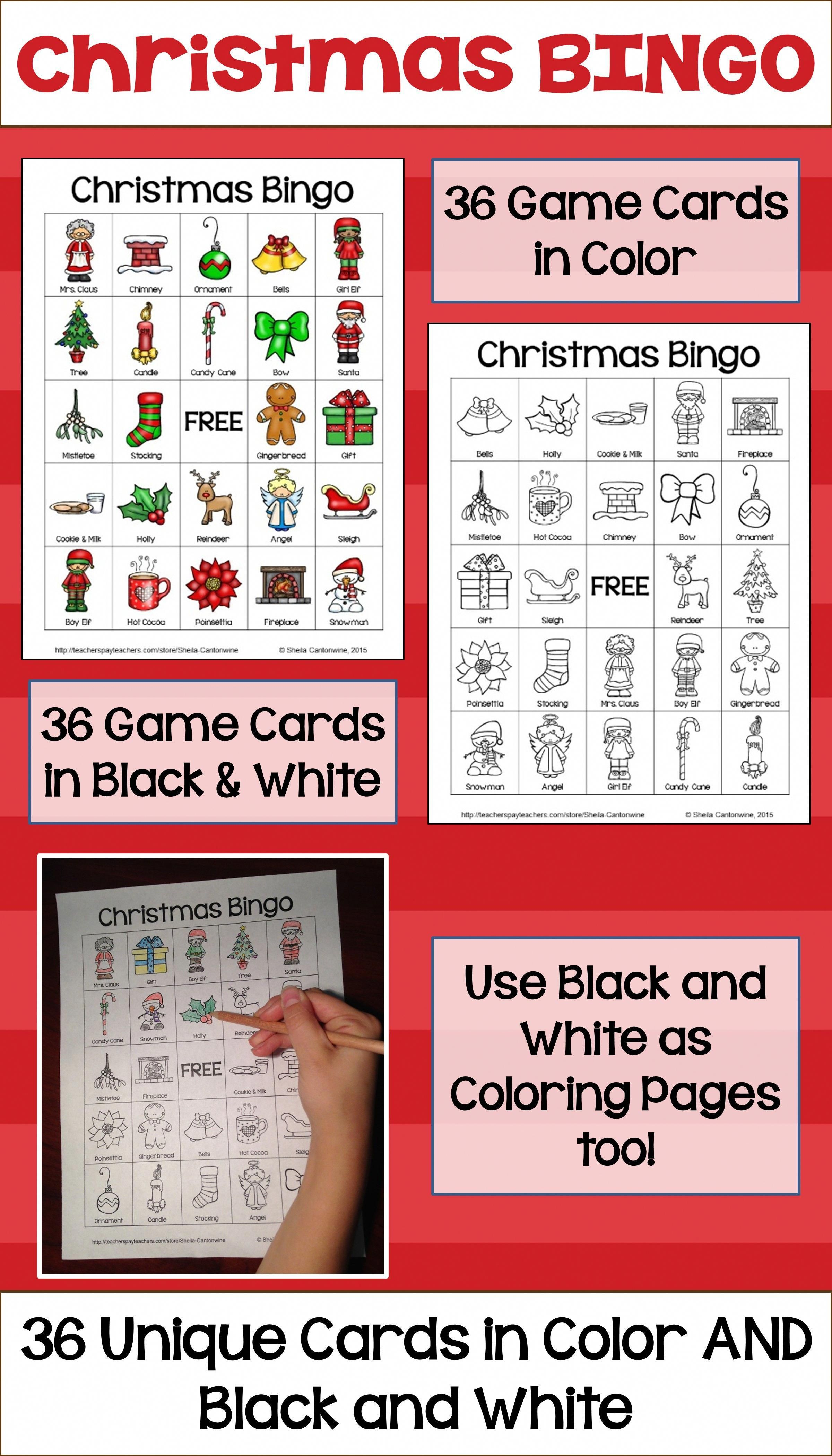 Christmas Bingo Game Party Games Xmas Activities for Families 24 Players