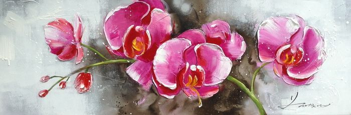Kwiaty Storczyki Roz Obraz Recznie Malowany Swieta 4850391387 Oficjalne Archiwum Allegro Acrylic