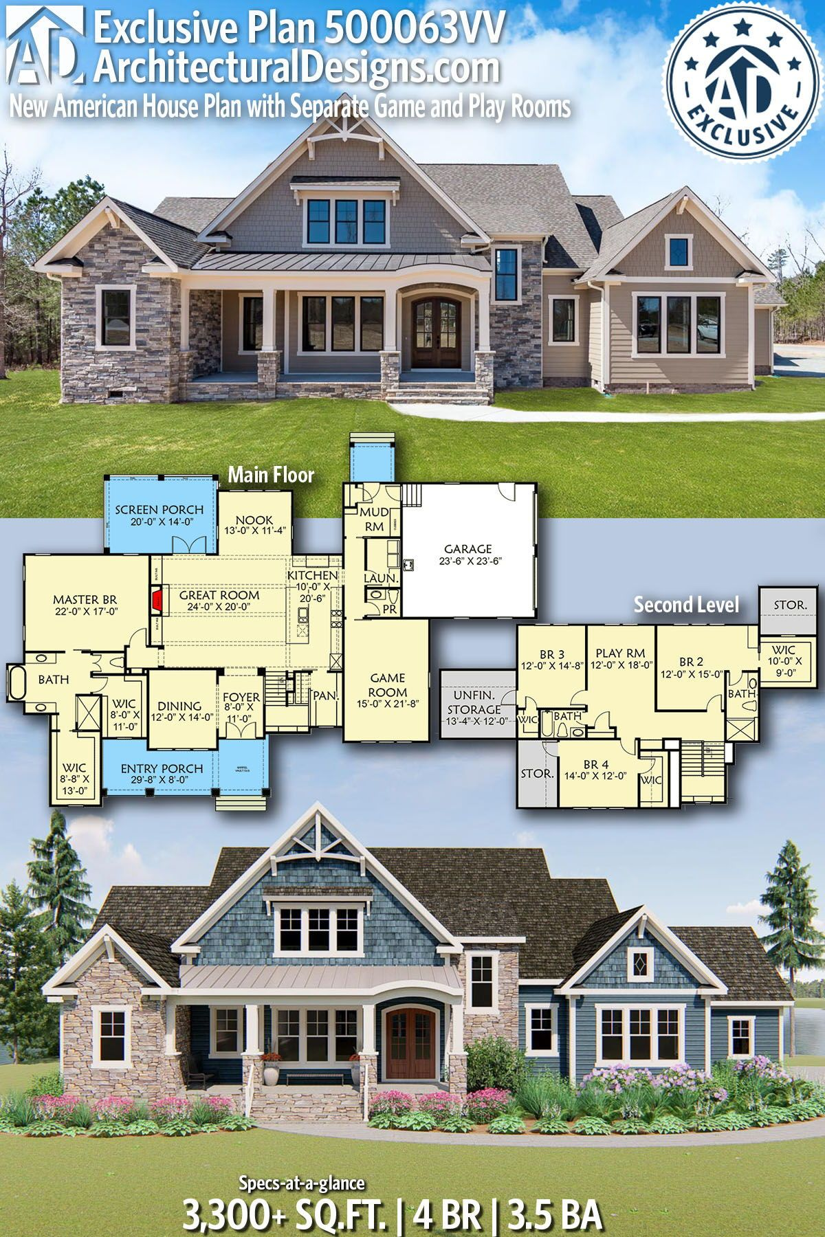 Plan 500063vv New American House Plan With Separate Game And Play Rooms Craftsman House Plans House Plan With Loft American Houses