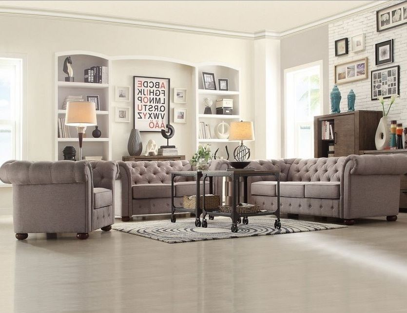 Chesterfield Living Room Set Tufted Tuxedo Sofa Loveseat Armchair In Light Gray Linen