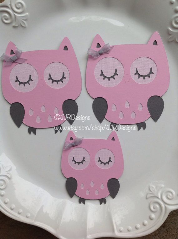 Three owl Cut Outs  Owl Die Cut Babyshower Owl by JJRDesigns
