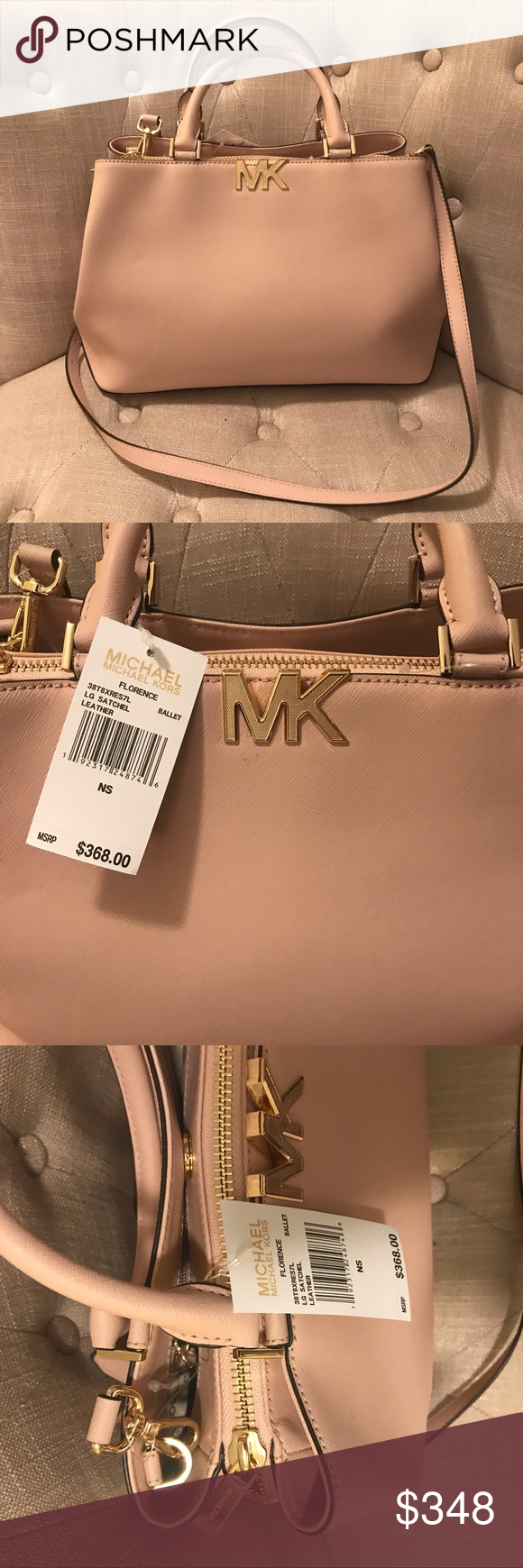 da4dc750f3a2 MICHAEL KORS: MK LOGO LARGE BALLET SATCHEL! The most delicate and  beautifully styled MK bag. Features: Branded gold feet and hardware Michael  Kors Bags ...