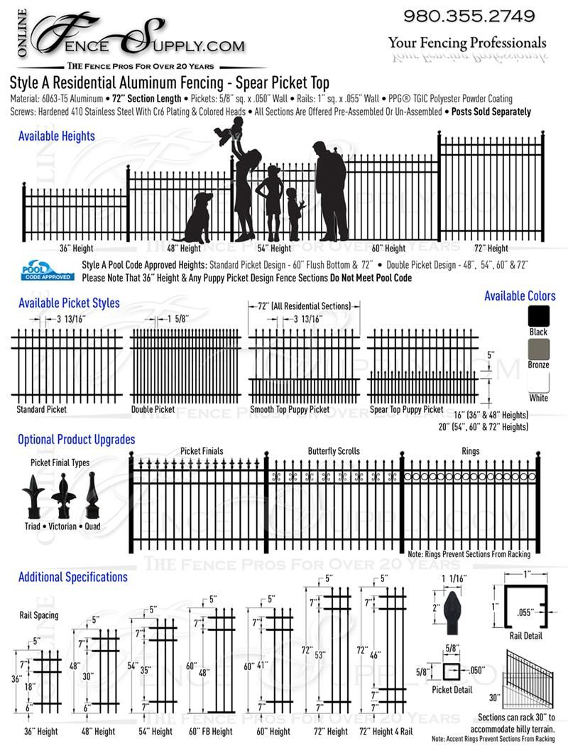 Style A Residential Aluminum Fence Fence 2016 Aluminum