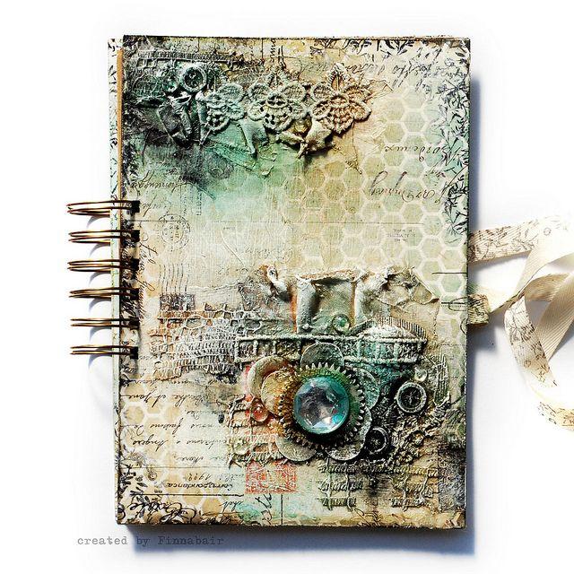 Misted - Art Journal cover by finnabair, via Flickr