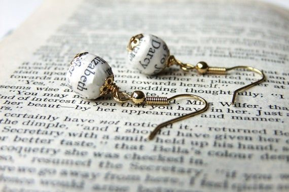 Pride and Prejudice, book page bead earrings #prideandprejudice