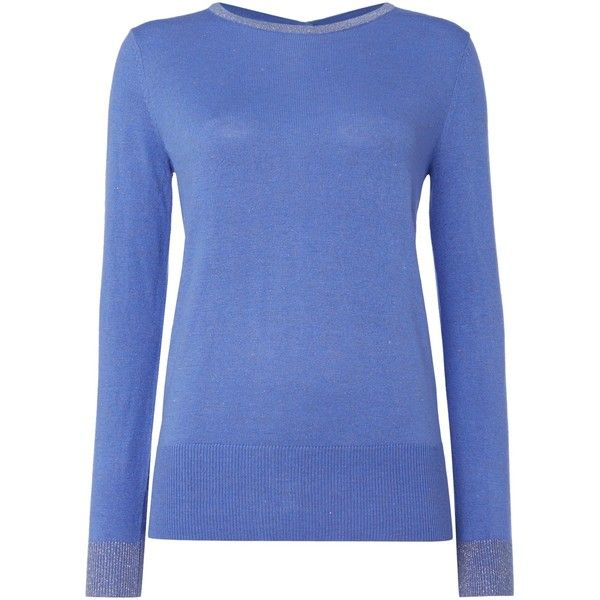 Biba Button back sparkle crew neck jumper ($48) ❤ liked on Polyvore featuring tops, sweaters, blue and sale