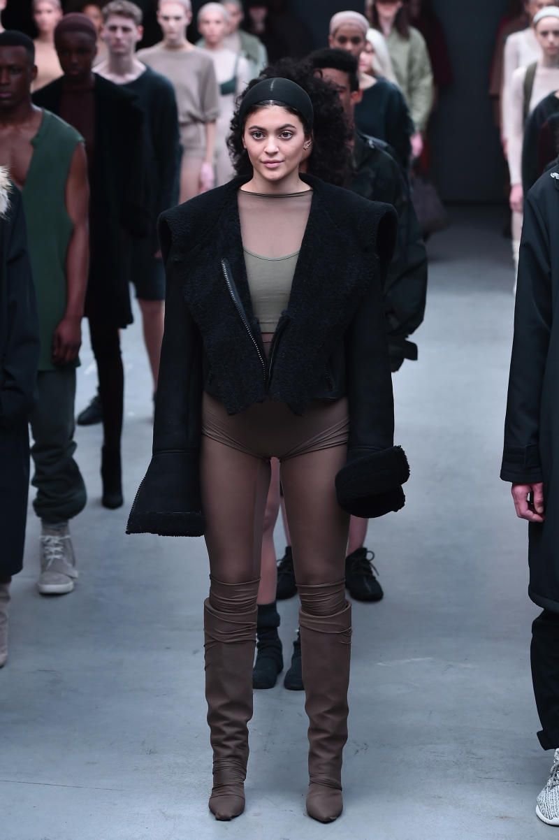 860ef24770a7e Kylie Jenner models in the Kanye West x adidas debut collection at New York  Fashion Week.