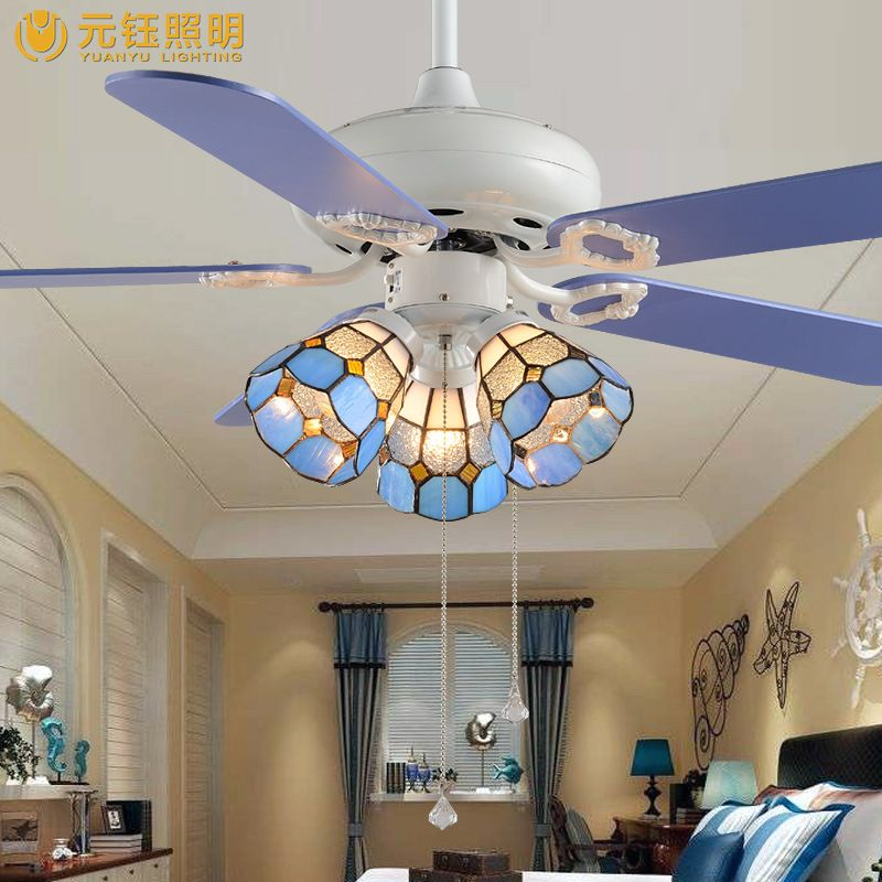 Fashion romantic blue tiffany creative led 3 heads fan ceiling light for childrens room bed room