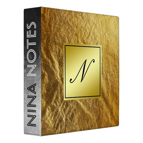 Gold Faux Foil Clean Monogram Personalized 3 Ring Binder