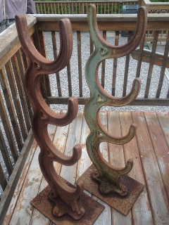 Antique Cast Iron Line Shaft Pulley Rod Storage Rack, Made By W.S. Yohe In  Canton