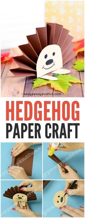 Paper rosette hedgehog herbst basteln kindergarten for Herbst bastelideen fur kleinkinder