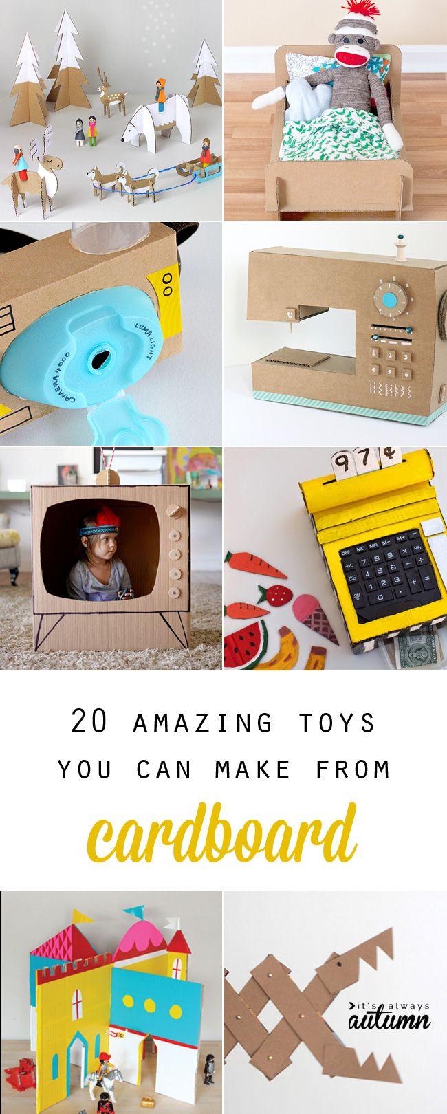 Craft toys for kids - 20 Coolest Toys You Can Make From Cardboard Cardboard Crafts Kidscardboard