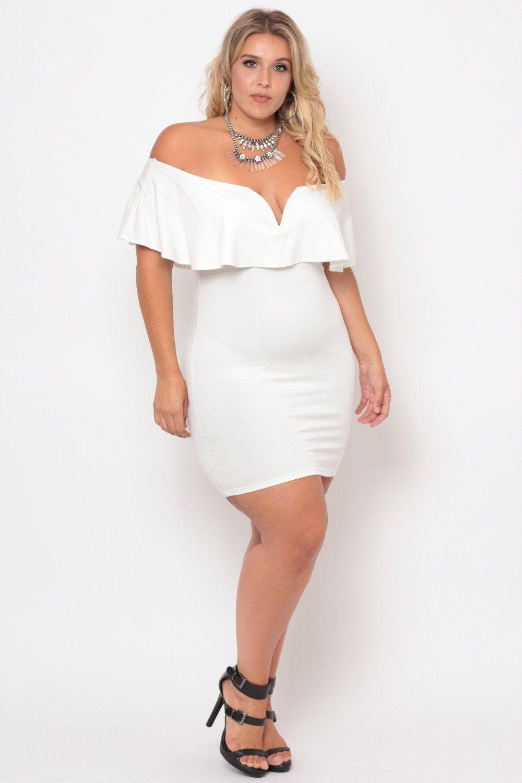 Plus Size Frill Bodycon Dress - Ivory