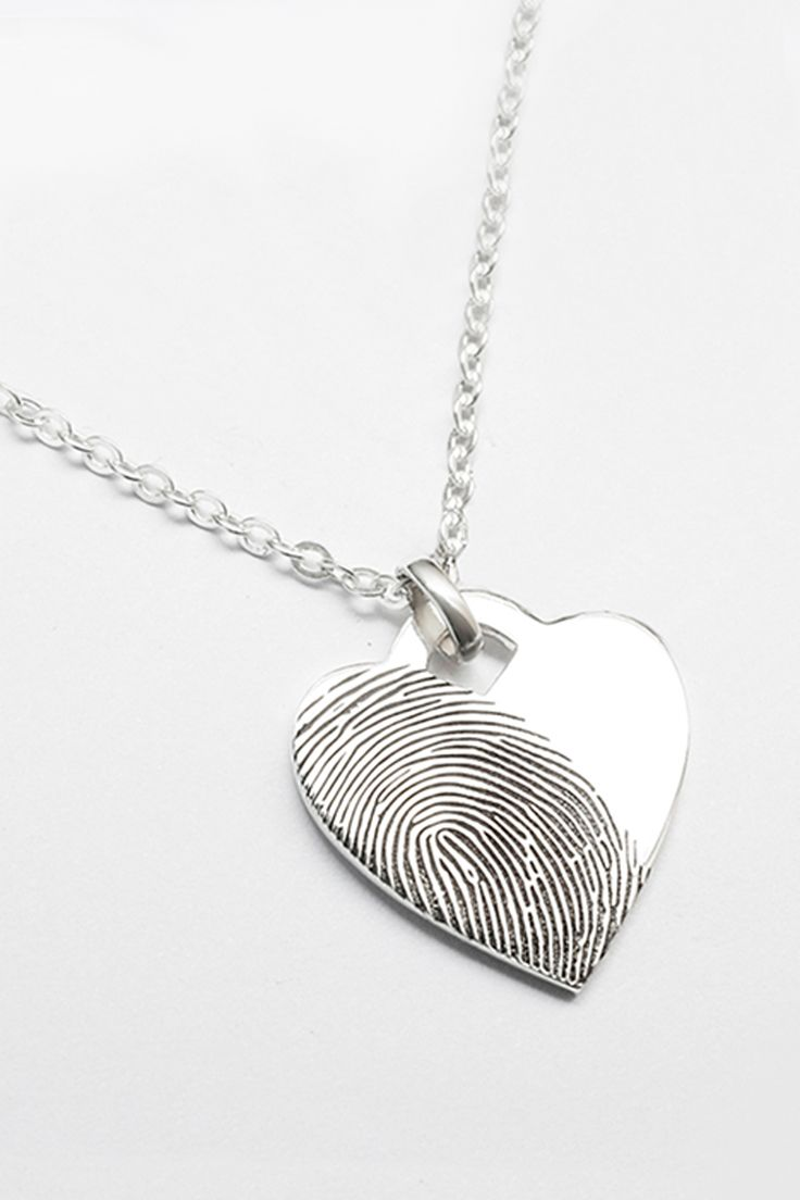 heart engraved on charm necklace silver hand fingerprint