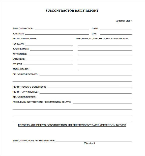 Daily Construction Report Template u2013 25+ Free Word, PDF Documents - project contract template