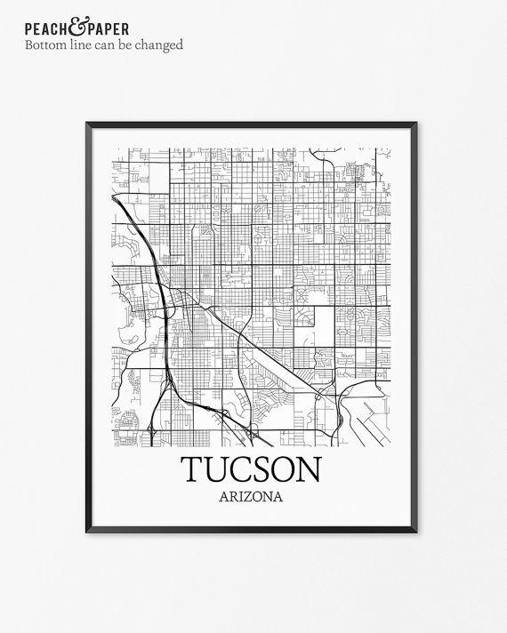 graphic relating to Printable Map of Tucson Az named Tucson Map Artwork Print, Tucson Poster Map of Tucson Decor