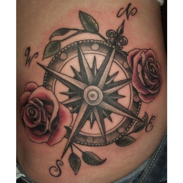 40 Awesome Compass Tattoo Designs Liked On Polyvore