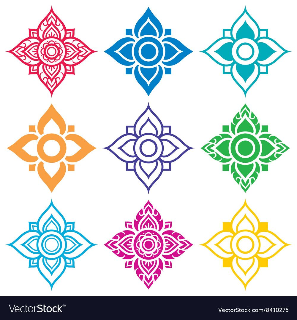 Altezza Posizionamento Split thai folk pattern flower shape royalty free vector   thai