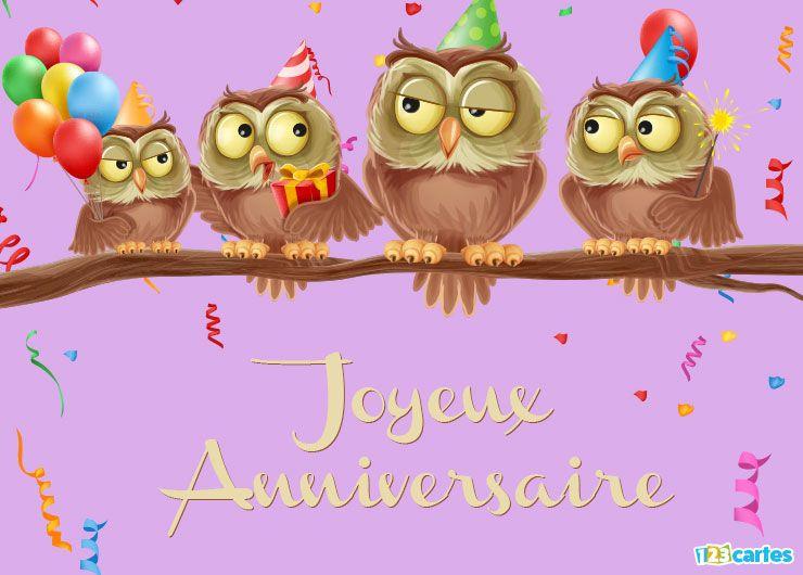 Souvent carte anniversaire les hiboux font la fête | Poupées | Pinterest  IG18