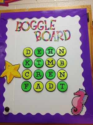 This pin is from a third grade teacher who lets her students play boggle quietly when they are done with their reading work. I would use it in my classroom and use the letters that make up the vocabulary words from the story that they are currently reading. I think it's such a neat idea because it integrates reading and spelling. Students like any type of game during the school day.