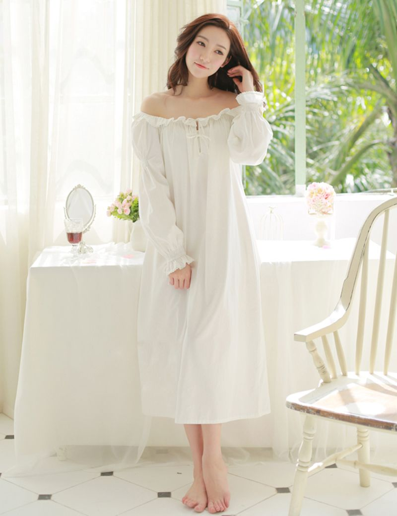 Beige White Pure French Style Palace Flounced Comfortable 100% Cotton  Nightdress Ruffles Long Sleeve Princess Nightgowns S14006 765610183