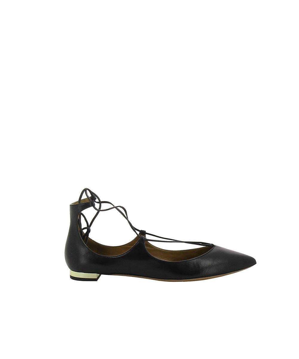 Ballerines Chaussures De Ballerine Pour Les Femmes En Vente, Noir, Cuir, 2017, 6 Aquazzura