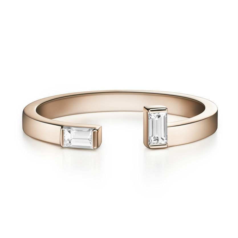Visibly Interesting: Minimalist, open front diamond baguette cuff ring in solid 14k Rose Gold