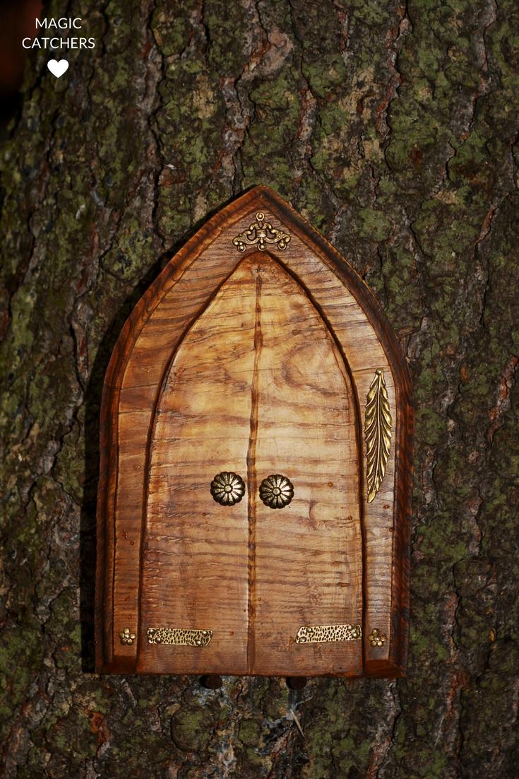 Hand made fairy castle door, wooden fairy door, hand carved fairy ...