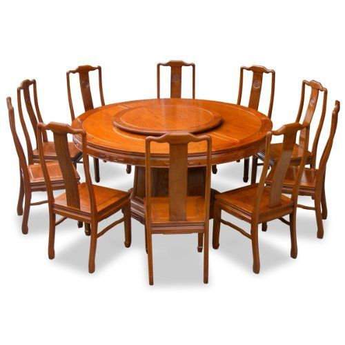 66 Rosewood Round Dining Table With 10 Chairs With Built In Lazy