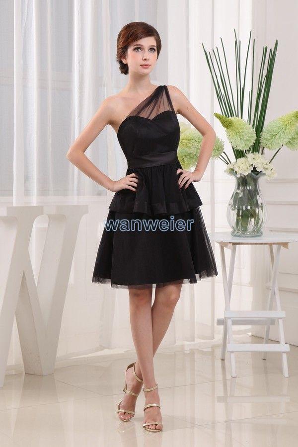 488d4e33aad6 Fetching sheath Oblique Mini chiffon balck Cocktail Dress With  Waistband(ZJ5367)