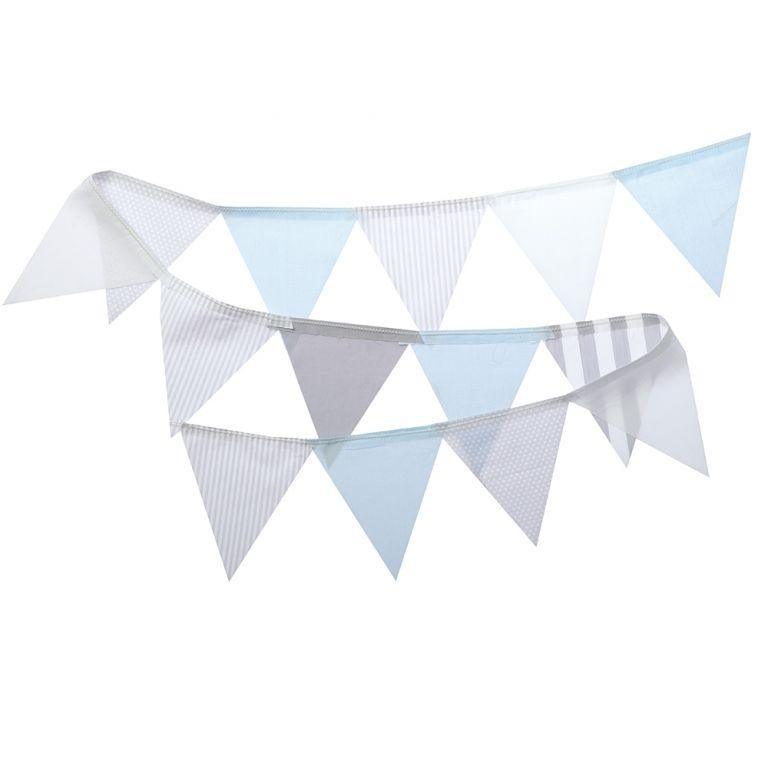 Stoff Wimpelkette grau/weiß/blau 150cm | baby | Pinterest ...