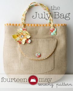 The July Bag,  Tote / Beach Bag  sewing pattern PDF::fourteen may