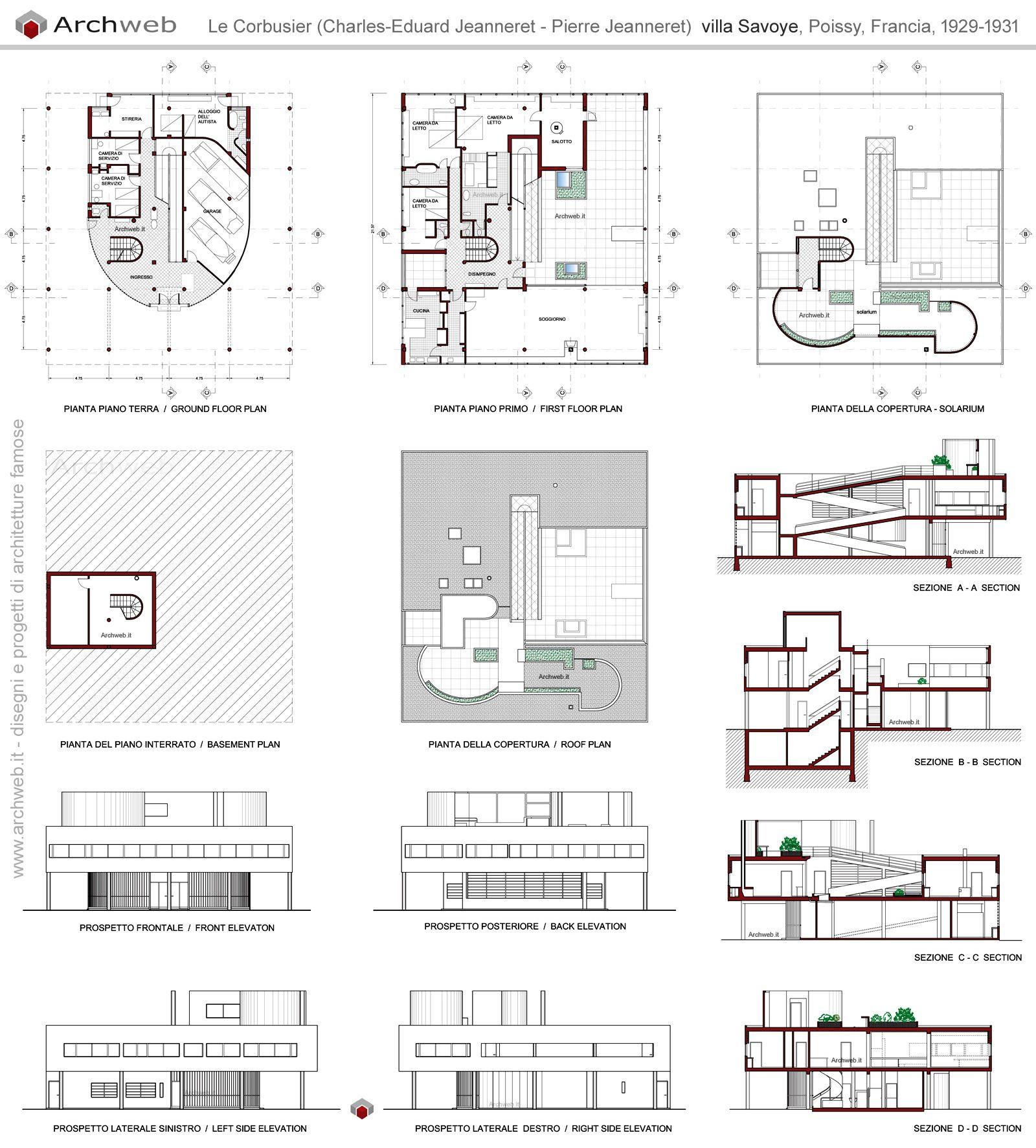 Villa savoye plan drawings