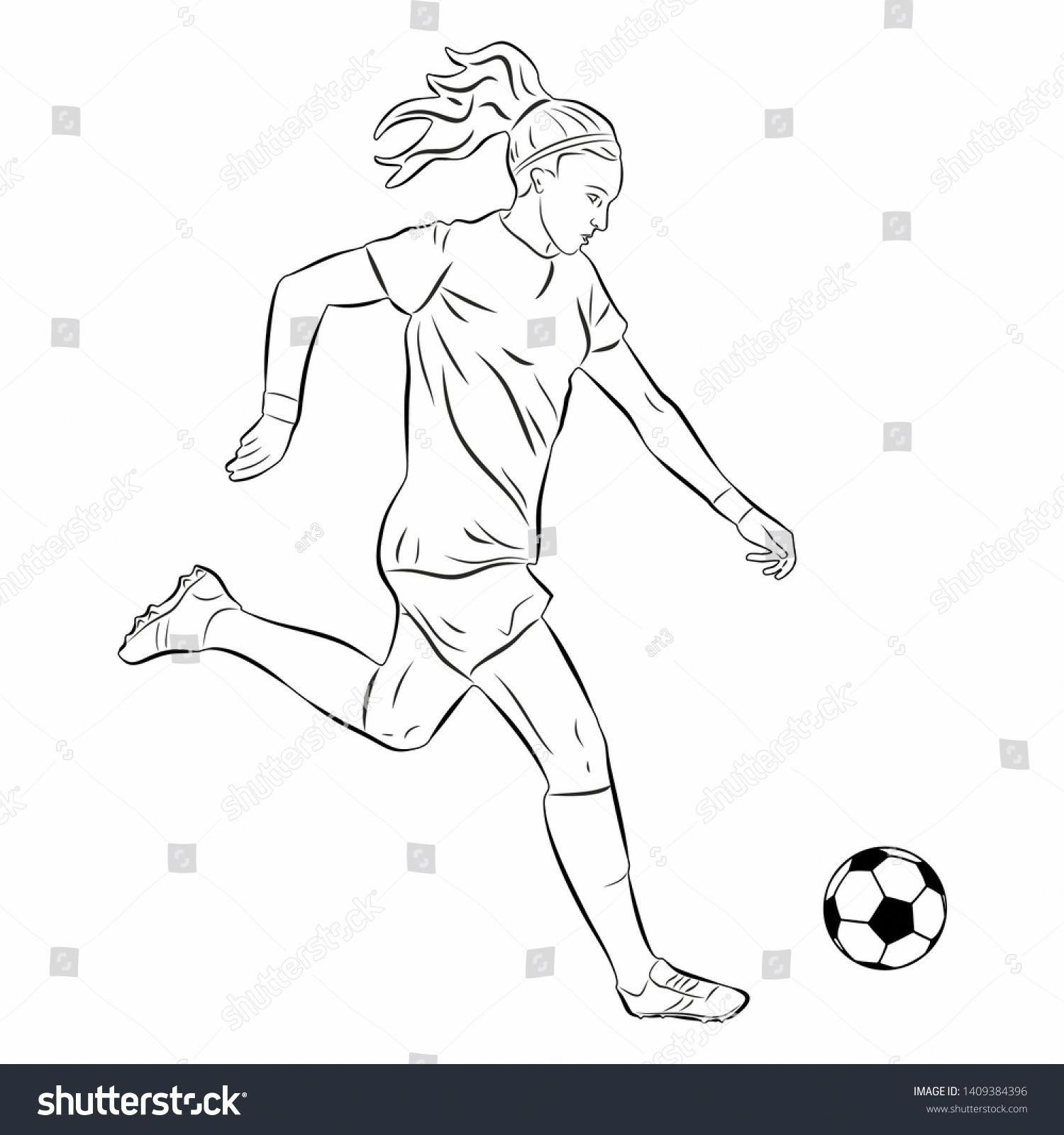 Isolated Illustration Of Woman Soccer Player Black And White Drawing White Background Ad Ad Woman Soccer I Soccer Drawing Soccer Players Womens Soccer